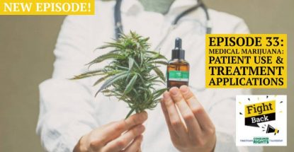 Medical marijuana with leaf and bottle of medicine