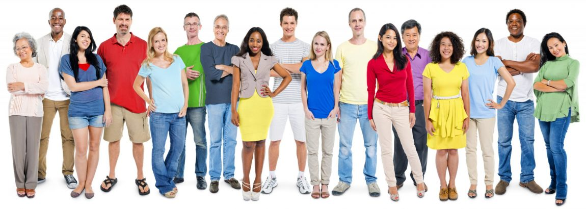 Group of people in a line, different ages, different ethnicities